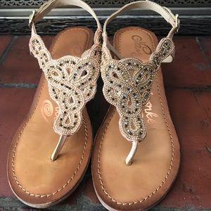 Cute beaded wooden wedge sandals.